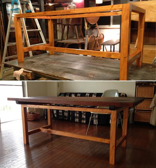 古い天板を利用し脚を作りダイニングテーブル兼作業台へリメイク