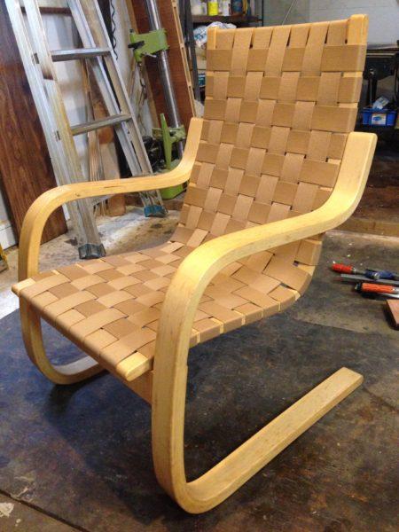 artek社 Alvar Aalto / アルヴァ・アアルト / arm chair No.406 ベルト張り替え修理