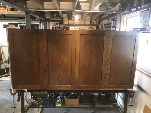 通し折戸のミラーシェルフオーダーメード / 洗面所の棚建具制作